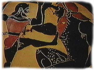 Odysseus fights the cyclops